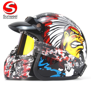 DOT Approved Half Face Protect Motocross Motorcycle Helmets With Goggles