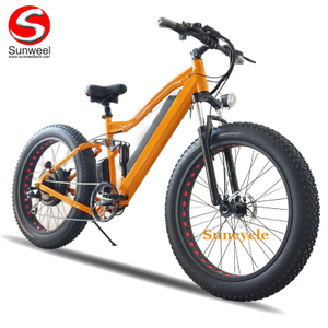 Powerful Fat Tire Electric Beach Cruiser Bicycle Full Suspension Ebike