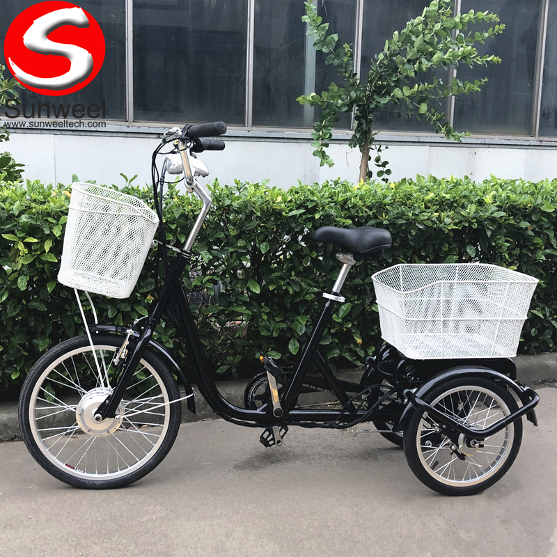 36v250w Three Wheel Electric Tricycle Pedal Assisted Cargo Bike