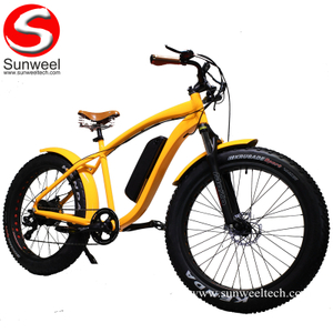 26'' Vintage Fat E Bicycle Beach Cruiser Electric Bike 48V500W Retro Bike
